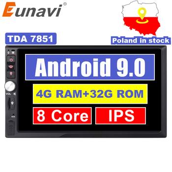 Eunavi 2 Din 7'' Octa core Universal Android 9.0 4GB RAM Car Radio Stereo GPS Navigation WiFi 1024*600 Touch Screen 2din Car PC