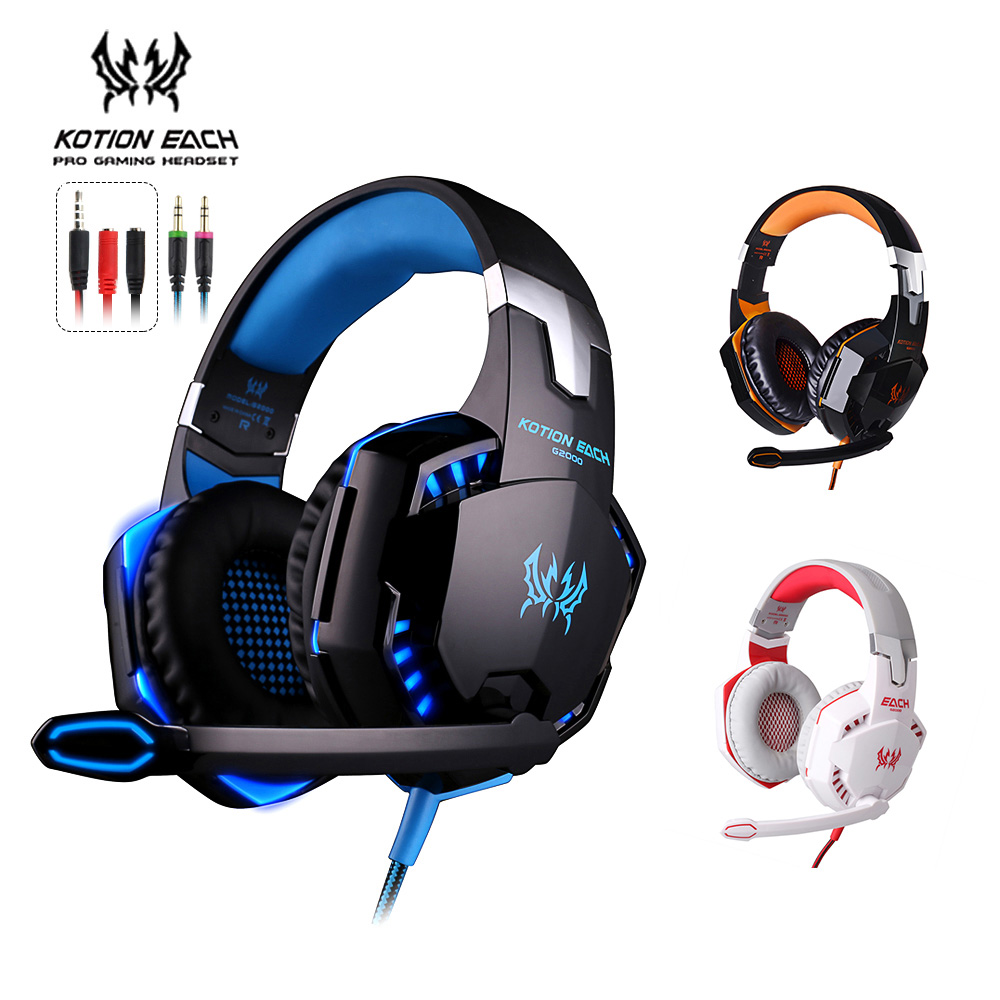 KOTION EACH G2000 Gaming Headset 3.5MM Wired Headband Headphones with Microphone LED Light Game Earphone for Computer PC Gamer rgb light wired game headset usb 7 1 earphone gaming headphones with microphone for pc computer gamer high quality voice control