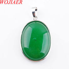 WOJIAER Natural Green Jades Gem Stone Bead Oval Silver Plated Healing Reiki Chakra Pendant Jewelry PN3686(China)