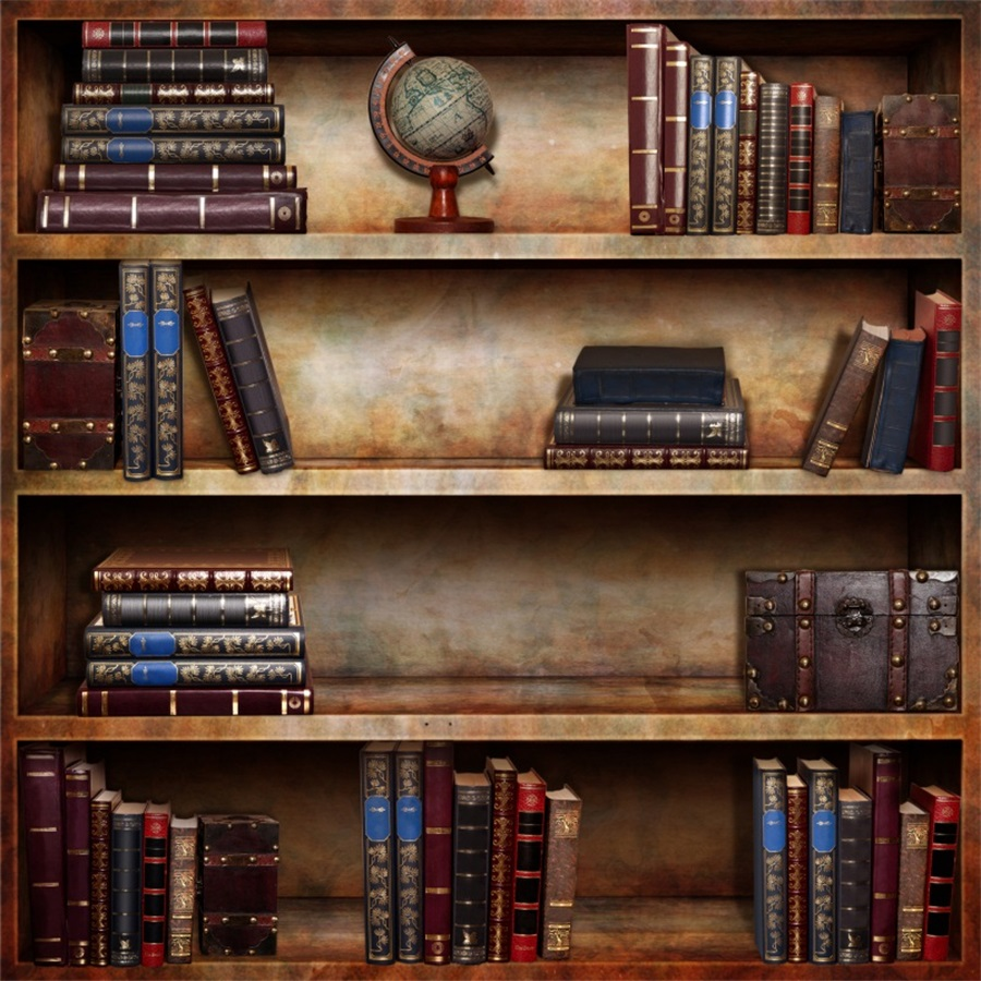 Laeacco Vintage Wooden Bookshelf Books Scene Photography Backdrops Backdrop Custom Camera Backgrounds For Photo Studio