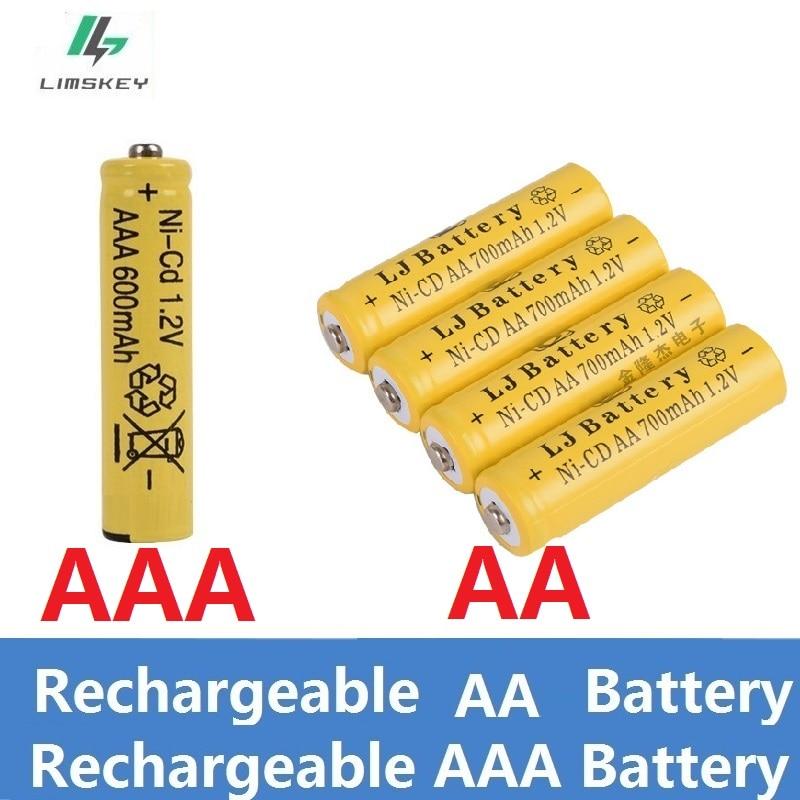 1.2v Ni-CD/Ni-MH Rechargeable Batteries( AA/AAA Battery) 600mAh / 700mAH Lithium Li-ion Battery Flashlight Laser Toys Battery