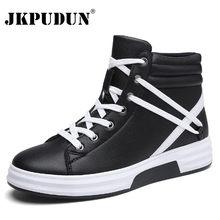 f1daad60a JKPUDUN Homens Moda Ankle Boots Botas De Couro Outono Inverno Hip Hop Dos  Homens À Prova