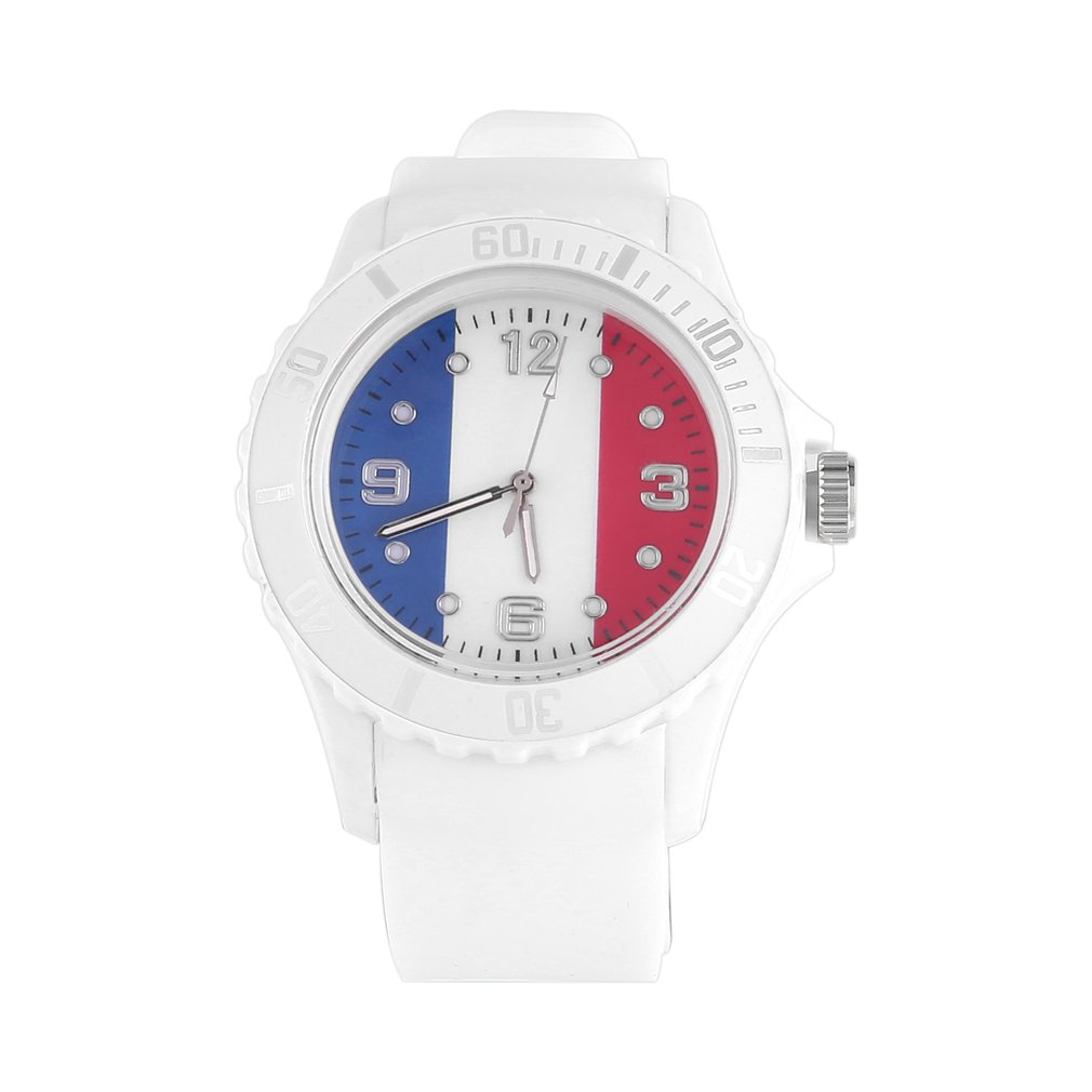 2018 Football Custom French/Duntch Flag Pattern Quartz Watches White Casual Sports Wristwatches Best Gifts For Lover