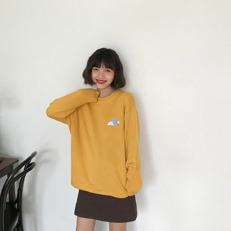 Korean 2018 Fashion Autumn Winter Cloud sun cartoon weather embroidered pullover sweater women
