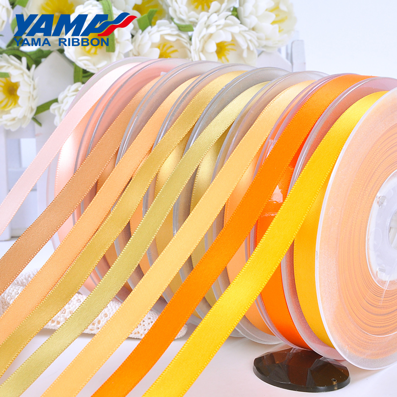 YAMA 100yards Single Face Satin Gold Ribbon 6 9 13 16 19 22 mm Fabric Yellow for Party Wedding Decoration Handmade Gift Ribbons in Ribbons from Home Garden