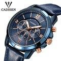 Мужские часы CADISEN  спортивные  водонепроницаемые  кварцевые  с кожаным ремешком