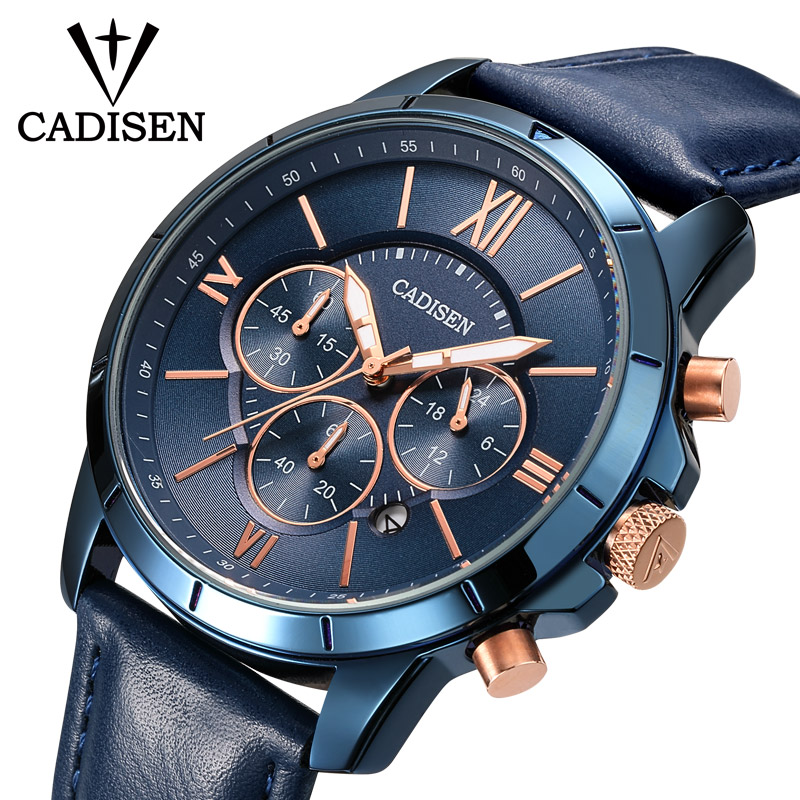 CADISEN Hot Fashion Sport Men Watches Top Brand Luxury Quartz Watch Men Leather Waterproof Military Wristwatch Relogio MasculinoCADISEN Hot Fashion Sport Men Watches Top Brand Luxury Quartz Watch Men Leather Waterproof Military Wristwatch Relogio Masculino