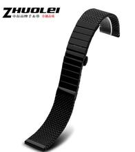20 mm 22 mm 24 mm nuevo Mens negro de malla de acero inoxidable milanés correa correa de reloj pulsera para reloj inteligente