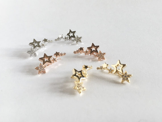 Silver&Gold&Rose Gold Filled Star Ear crawlers Ear Climber Earrings Bridesmaid Gift, Personalize Earrring engagement Earring