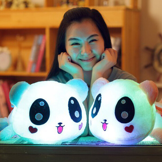 1pc 35cm New Luminous Plush Panda Toy Staffed Glowing Animal Doll Birthday Gift for Children