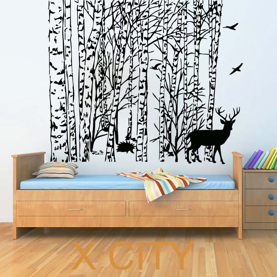 Winter Tree Wall Stickers Bird Deer Decal Vinyl Bathroom Kitchen Window Baby Nursery Bedroom Home Decor