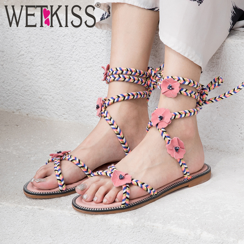 WETKISS Summer Sandals Colorful Flat Sandals Women 2019 Cross Strap Beach Shoes Female Fashion Casual Shoes