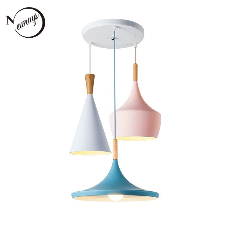 Nordic Creative Bar Loft Pendant Lights Cafe Restaurant Bedroom Multicolor Aluminum Lamp Shade Wood Hanging Lamp Family Lighting