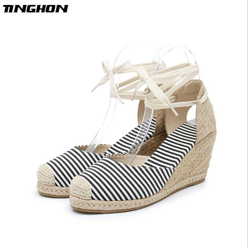 TINGHON Summer Polka dots stripe Women Platform Sandals Peep Toe Wedge Espadrilles back strap Comfortable