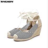 TINGHON Summer Polka dots stripe Women Platform Sandals Peep Toe Wedge Espadrilles Women back strap Comfortable Women Sandals