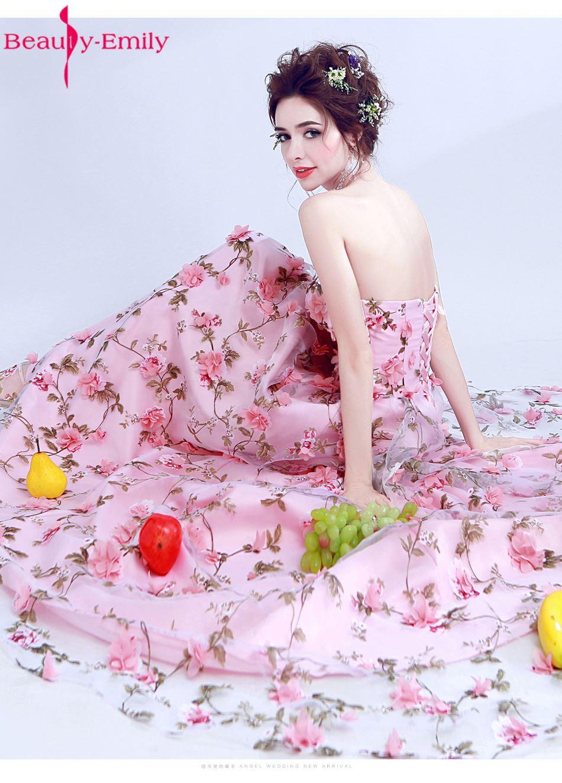 Belleza Emily Rosa gasa sexy flor Vestidos de noche 2017 Más tamaño ...