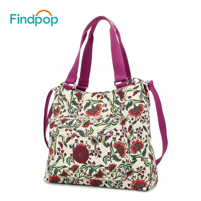 Findpop Floral Printed Shoulder Bags For Women 2018 Fashion Casual Women Crossbody Bag Large Capacity Nylon Female Crossbody Bag