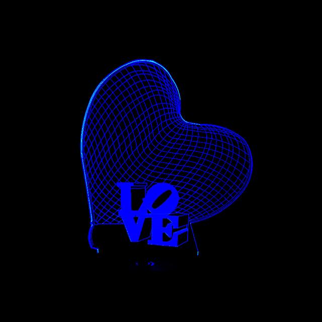 3D LED Hologram – Nočné svetlo – Love Heart