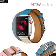 Strap for Apple Watch Band 4 44mm 40mm correa iwatch 42mm 38mm 3/2/1 leather double tour bracelet apple watch 4 accessories