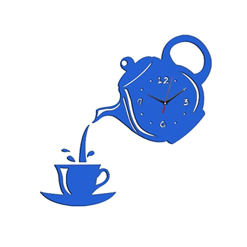 3D Acrylic Wall Clock Sticker Coffee Teapot Cup Creative DIY Mirror Wall Clock Modern Design For Living Room Decoration