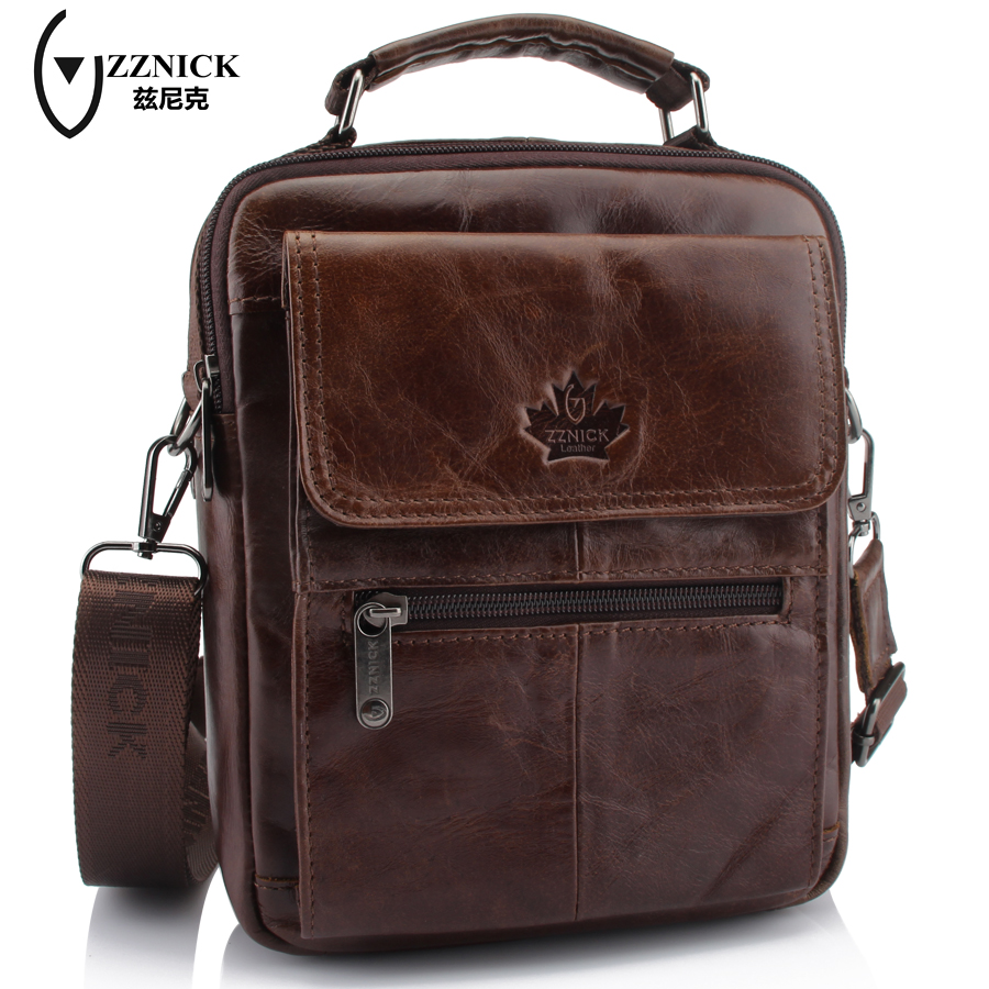 ZZNICK Genuine Leather Shoulder Bags Fashion Men Messenger Bag Small ipad Male Tote Vintage New Crossbody Bags Men's Handbags zznick genuine leather shoulder bags fashion men messenger bag small ipad male tote vintage new crossbody bags men s handbag