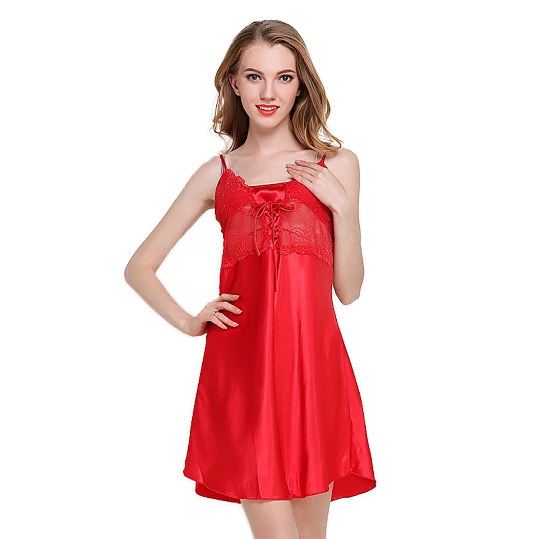 Sleeping Gown: Women Lace Nightdress Sleeveless Sleepwear Mini Sleeping