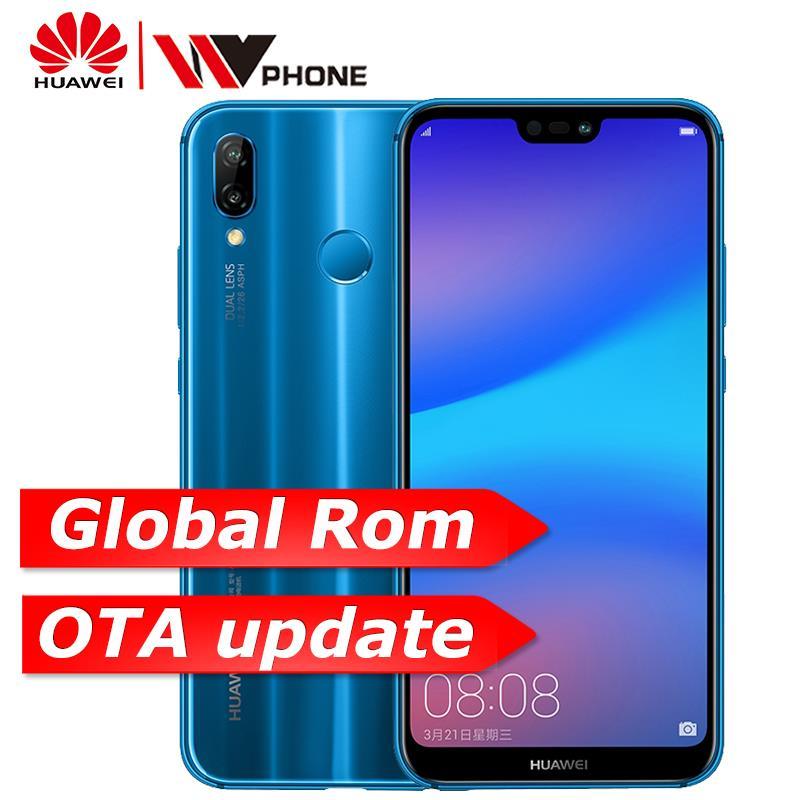 Huawe p20 lite global rom nova 3e face id do telefone móvel núcleo octa 5.84 polegada android 8.0 impressão digital tela cheia