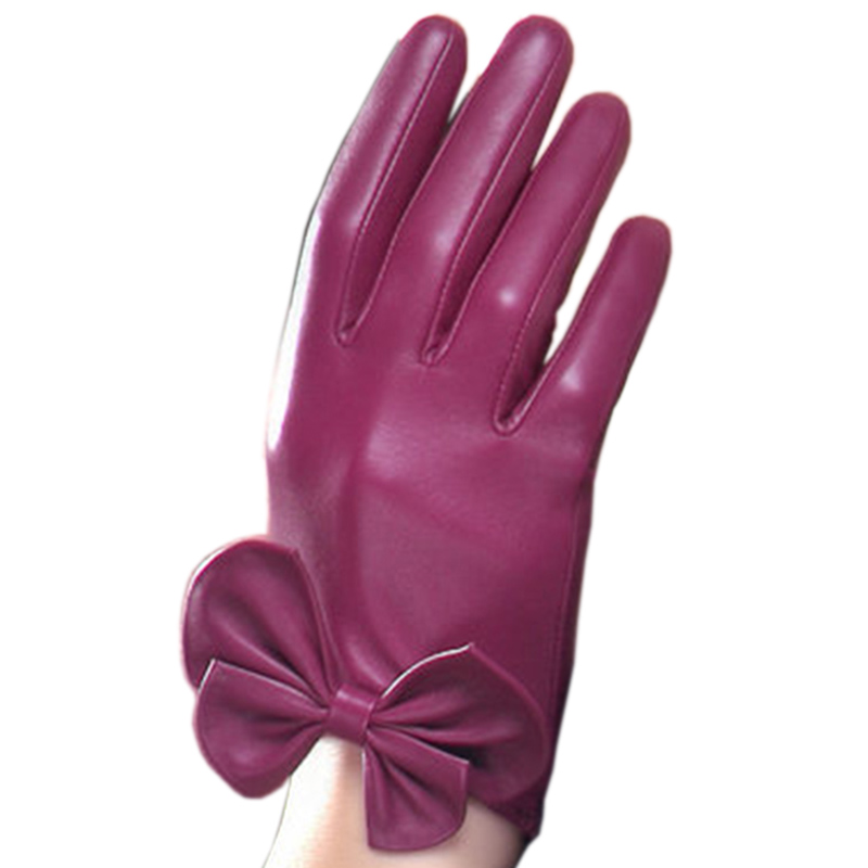 Women Genuine Leather Gloves Fashion Sheepskin Glove Wrist Bow knot Thermal Velvet Lining Winter Driving Gloves NW785-5 网 红 小 姐姐