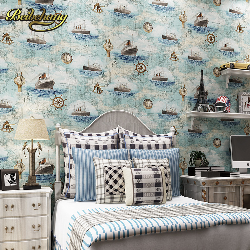 beibehang wall paper. Pune Mediterranean-style pure paper imported children's room bedroom wallpaper backdrop sailing yacht Blue