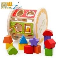 MWZ Colorful Baby Block Match Shape Learning Educational Wooden Toys Geometry Shape Intelligence Box Child Early Learning Cube
