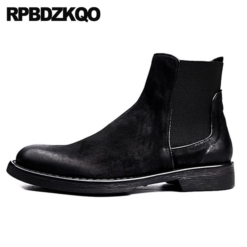 designer suede chelsea slip on faux fur shoes winter men boots with warm black 2018 genuine leather fall booties handmade short christmas faux fur fitted velvet short party dress with hat