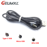 Magnet Fast Charging Cable Nylon Braided Magnectic 8 Pin / Micro / Type-C USB Cable Data Charger Cable for iPhone Magnetic Cable