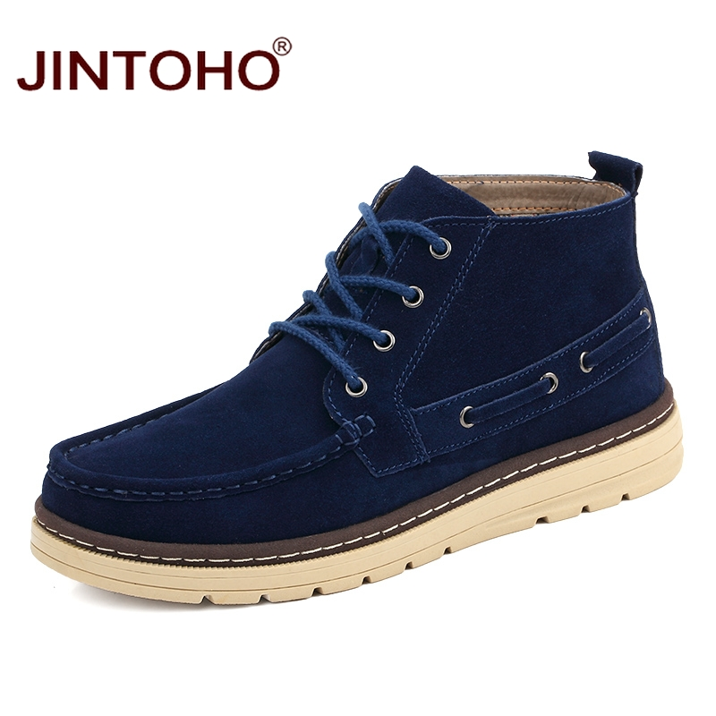 JINTOHO Winter Genuine Leather Boots For Men Luxury Brand Men Genuine Leather Shoes Designer Male Boots Winter Shoes For Men