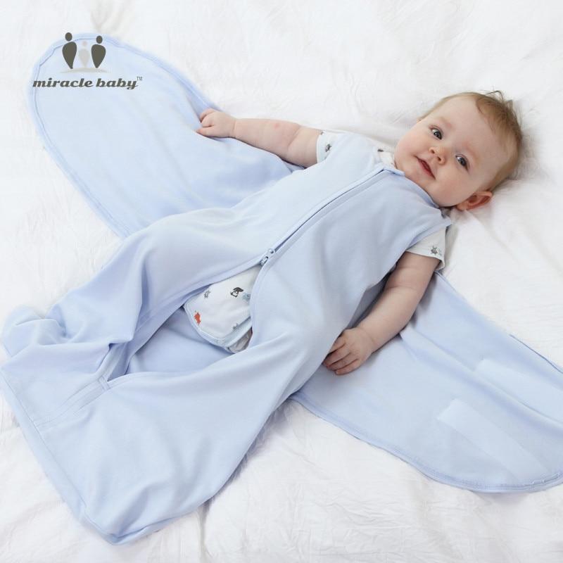 MIRACLE BABY New Wearable 0-6M Cotton Baby Sleeping Bag Swaddle Wrap Cloths Boys Girl Sleepsack Envelope Bedding Newborn Cushion