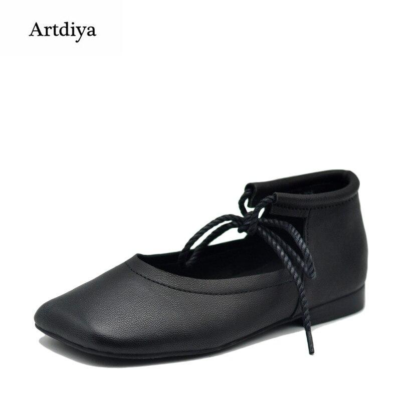 Artdiya Genuine Leather Shoes Square Toe 2018 New Spring Flat Shoe Handmade Bandage Women Shoes 18353-76 artdiya 2018 spring new women s shoes genuine leather handmade retro elastic band rubber flat shoes b292 2