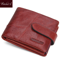 CONTACT S Women Wallets Short High Quality Genuine Leather Wallet For Luxury Brand Women Cowhide Red