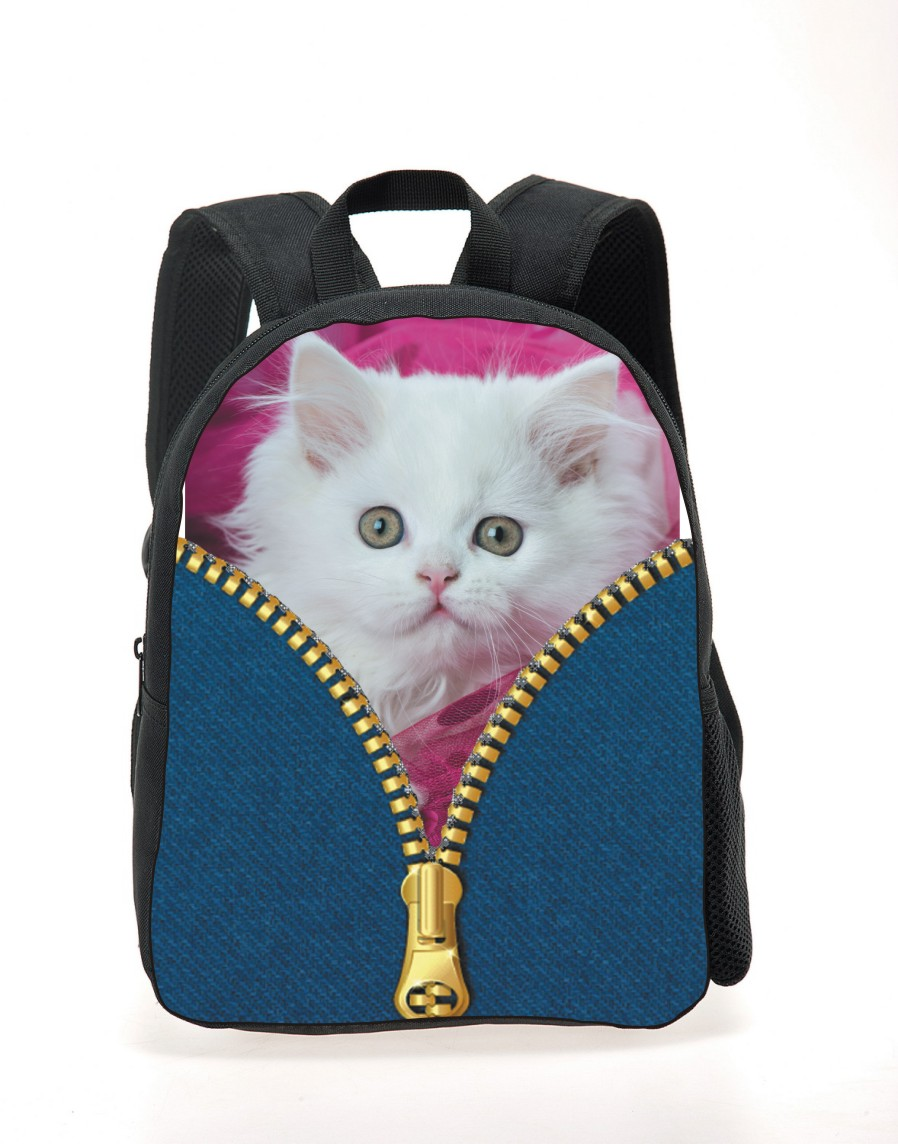 Cute Baby Boys Mini Backpack for School Cute Black Cat Printing Backpacks for Children 3D Zoo