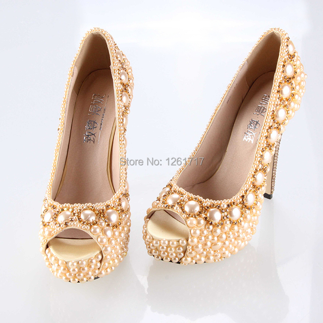 efacb5d900c New Fashion Personality Customized Pearl Crystal Rhinestone Gold High Heels  Wedding Bridal Shoes Evening Party Dress Shoes