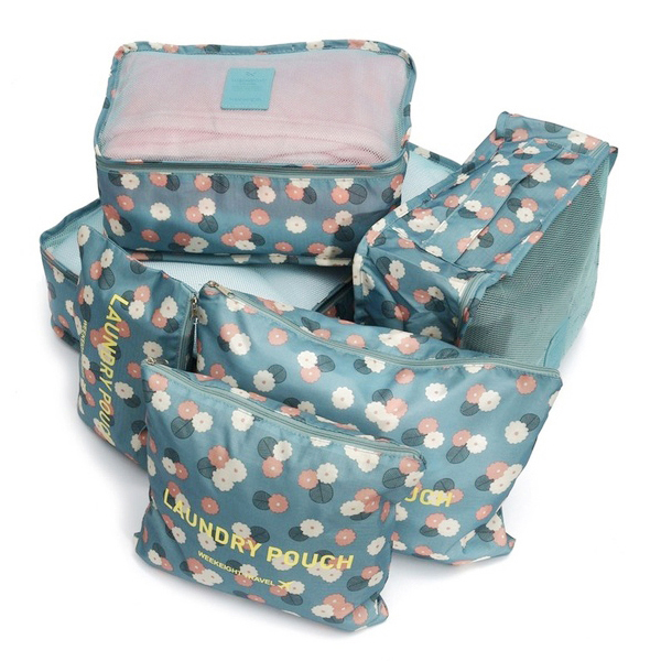 6Pcs Waterproof Clothes Travel Storage Bags Packing Cube Luggage Toiletry Bag Organizer Pouch Home Organization Blue