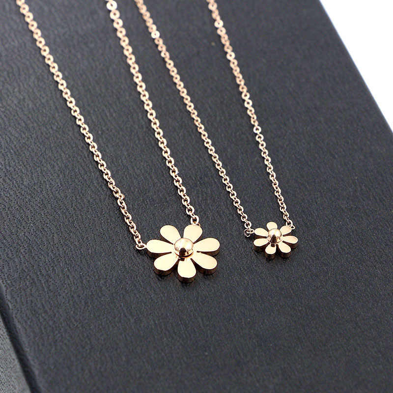 2018 Martick 316L Stainless Steel Gold-color Flower Pendant Necklace Link Chain Necklace Rose Gold Fashion Jewelry For Women P64