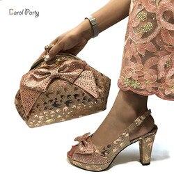Высокое качество Африканский персикового цвета; комплекты дизайнерской обуви и сумочка в комплекте в итальянском стиле с подходящей сумоч...
