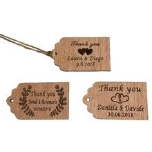 Фотография 100pcs Personalized Thank You Wedding Tags Engraved  Wooden Tags Wedding Favor Tag Rustic Wedding Bridal Show decoration+jute