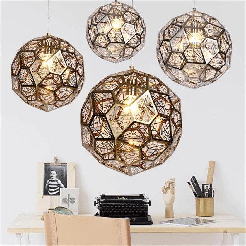 Nordic Modern Round Led Stainless Steel Pendant Lights Jewel Ball E27 Hanging Lamp For Living Room