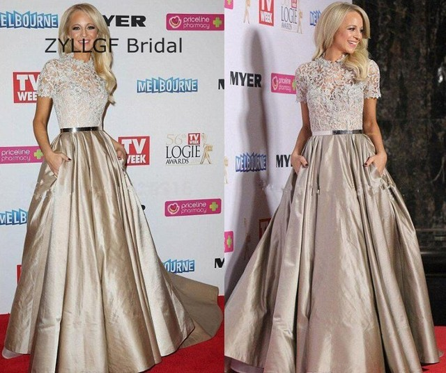ZYLLGF Bridal Princess High Neck Red Carpet Gowns A Line Short Sleeve Formal Celebrity Dresses With Pocket Factory Made DR41