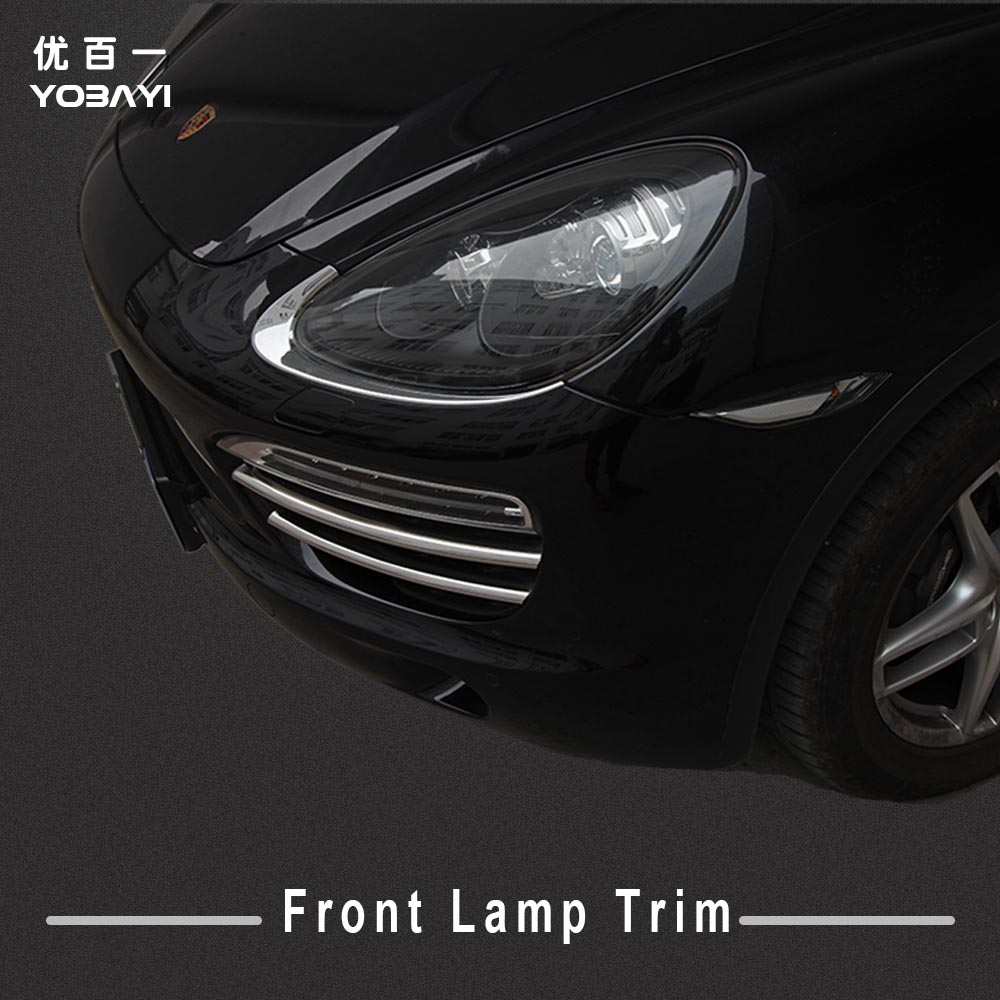 2pcs High quality ABS plastic chrome front lamp light cover trim accessories for 2011 2012 2013 2014 porsche cayenne car styling 6pcs abs chrome interior inner door side handle bowl cover trim for 2011 2012 2013 2014 2015 2016 porsche cayenne car styling