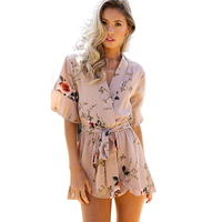 2017 Boho Sexy Rompers Women Jumpsuit Bodysuits Autumn Long Sleeve V Neckline Lace Up Ribbed Bodycon