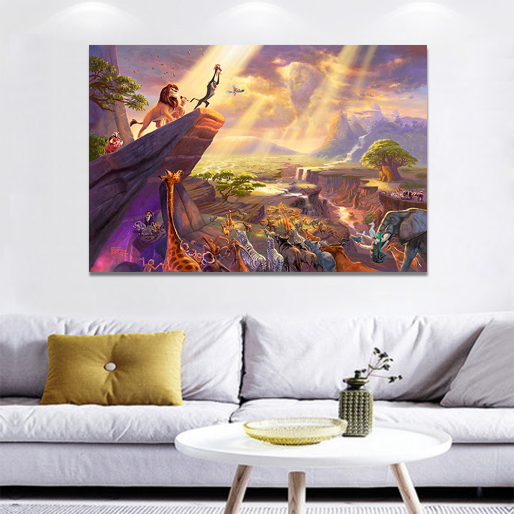 Unframed Canvas Cartoon Painting Thomas Kinkade The Lion King Picture Prints Wall Picture For Living Room Wall Art Decoration