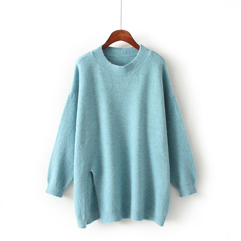 hd4b Korean version of the large size female winter dress round neck pullover loose Tibetan meat