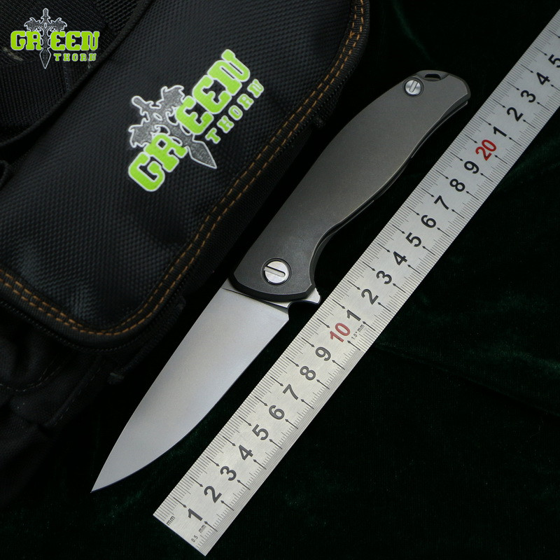 Green thorn F95 Flipper folding knife D2 blade Titanium Flat handle outdoor camping hunting pocket kitchen