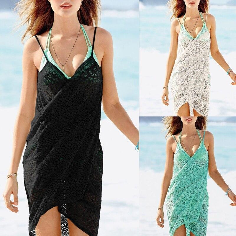 Women 39 s Lace Spaghetti Strap Backless Beach Dress Bikini Cover Up in Bikinis Set from Sports amp Entertainment